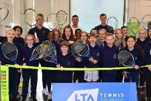 Aidan McHugh, Leon Smith and Jamie Murray with the delighted Whiteinch pupils