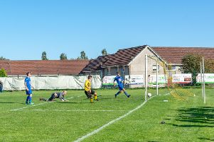 Stewart makes it 3-0 for Bellshill Athletic against Lanark United (Pic by William Wood)