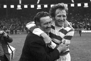 Billy McNeill (right) skippered the Celtic team managed by Jock Stein (also pictured) to 1967 European Cup