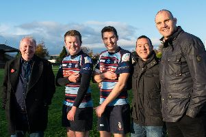 Celebrating the new sponsorship deal are, left to right, Gary Louttit, Alasdair McConnell, Jack Heneghan, Steve Barnett and club legend Al Kellock.