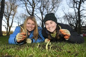 Buglife's B-Lines project was a successful applicant in a previous round of the Biodiversity Challenge Fund, supporting its work to benefit bees and butterflies. Buglife's Claire and Alison are pictured planting snowdrops to help create a wildflower-rich habitat for the benefit of pollinators and other wildlife. (Photo: Greg Macvean)