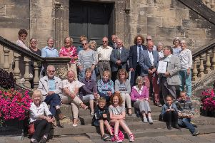 Assembled for the judging...Burgh Beautiful committee members and volunteers were out in force for the Britain in Bloom 2018 judges' visit to Linlithgow.