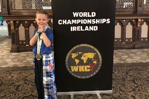 Lachlan Blaikie shows off the bronze medal he won in Dublin