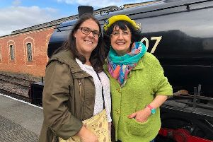 Star attraction...Antiques Road Trip's Anita Manning with SRPS business development director Amanda Kilburn. Anita visited Bo'ness to film a segment of the show at Bo'ness and Kinneil Railway and James Watt's Cottage on Kinneil Estate. It will be screened next year when the town will also commemorate the cottage's 250th anniversary and the bicentenary of Watt's death in 1819.