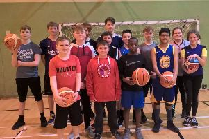 A group of basketball players who enjoyed the first session at Stonehaven Leisure Centre