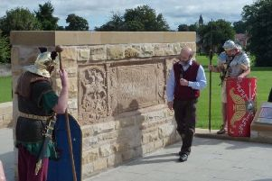 Opening the replica at Kinningars Park, the Bridgeness Tablet is the third object on Geoff Bailey's historic local trail.