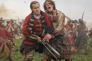 The evil Black Jack Randall, left, finally comes to grief in a gory duel to the death with Outlander hero Jamie Fraser