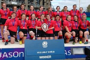 Biggar girls with National Shield