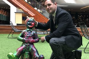 Security guard Aaron Hornby welcomes 'Glen' to Princes Square