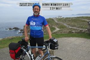Mark Tasker is cycling to all the places where he used to live