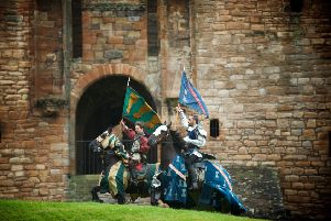 Preparing for battle...noble knights on their trusty steeds will entertain crowds at Linlithgow Palace this weekend during the Spectacular Jousting event. (Pic: Rob McDougall)