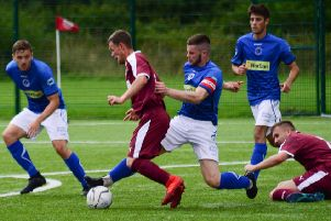 Action from Linlithgow Rose CFC against Bo'ness United Juniors in the South Premier League