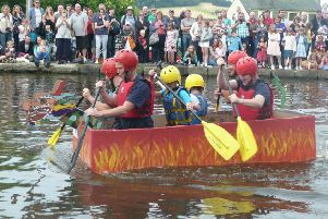 Flaming great...fun is guaranteed for participants and spectators at the cardboard boat race this Sunday at the canal basin in Linlithgow.