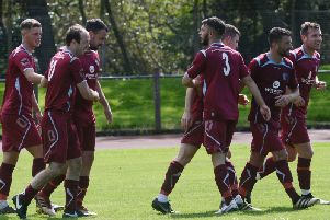 Cumbernauld celebrate a goal at Whitletts last Saturday (pic; Morwood Photography)