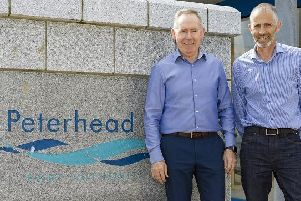 Peterhead Port Authority chief executive Simon Brebner  with Rediscover Peterhead chairman John Pascoe