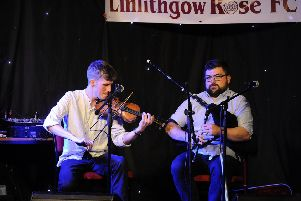 07-09-2017. Picture Michael Gillen. LINLITHGOW. Linlithgow Rose social club. Linlithgow Folk Festival: Songs and Reels at the Rose. BBC Young Traditional Musician of the Year, Charlie Stewart and Linlithgow's town piper, Ross Miller. The piper and fiddler.