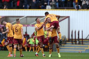 Motherwell celebrations after Jermaine Hylton's goal against Hibs (Pic by Ian McFadyen)