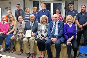 Pictured with Sir Jack and his wife Lady Lydia are a few of his RNLI colleagues (Back row l to r) Jacqui Horsburgh, Craig Maison, Liz Holmes, Kate Ball, David Smart, Jacqui Schofield, John Schofield, Graham Hughes, (Front row l to r) Morag Goulden, Trish Sutton,'David Steel, Sir Jack Stewart-Clark, Lady Lydia Stewart-Clark, Tom Robertson MBE and Joyce Smith.
