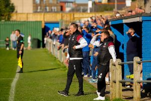 Mark Bradley (foreground, shielding his eyes) and assistant boss Paul Ronald survey Saturdays heavy 6-2 defeat at Musselburgh (Pic by Scott Louden)