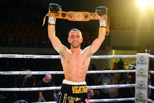 Nathaniel Collins celebrates after his victory (pic: Michael Gillen)