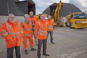 Councillor Tom Conn (left) joined David Wilson and members of the council's Operational Service at the Whitehill Depot in Bathgate. Photo by Ian R Fleming.