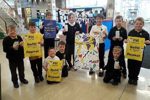Pupils at Kinneil Primary School taking part in the Plastic Pioneers campaign.