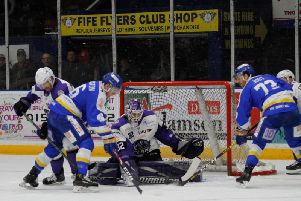Fife Flyers put pressure on the Glasgow Clan net. Pic: Fife Flyers Images