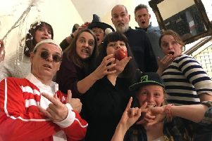 The Linlithgow Players are gearing up for their upcoming patomime, Snow White. Pictured: Snow White with apple, played by Suzanne Hogg centre and 'Lithgae rappers' Fred and Frankie at front, played by Les Fulton and Erika Oulton.