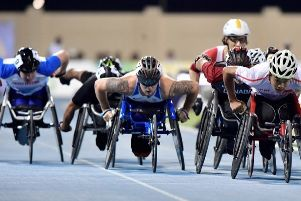 Paralympic hopeful Ben Rowlings from Linlithgow, pictured (centre) in action at the World Championships..