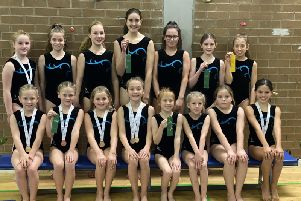 Sixteen girls from Stonehaven Gymnastics Club recently competed in the Scottish 2-piece beginner and intermediate competition in Perth