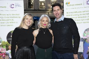 Pictured (left to right):  Heather Duff from Winchburgh, who faces surgery before Christmas for a brain tumour, broadcaster Cat Cubie, and cancer scientist Professor Steve Pollard.
