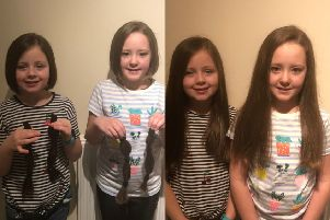 Twin sisters from South Queensferry, Erin and Ciara Barclay, had their hair cut for charity.