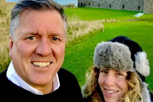 Ken and Grace at Dunnottar Castle after becoming engaged