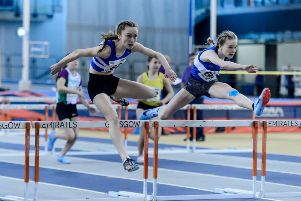 Stonehaven's Ella Creamer (right) in the Scottish Indoor U15 60m hurdles