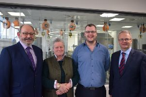 Left to right - Fraser Hogg, Fiona Macphie, both Macphie trustees, Jon Wilkin, Abertay University, and Alastair Macphie, Macphie Ltd chairman