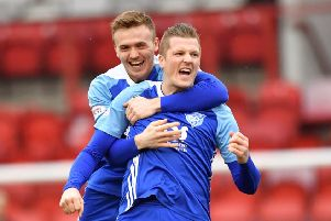 SCOTTISH LEAGUE 2'CLYDE V PETERHEAD'(DUNCAN BROWN)''PETERHEAD'S  WILLIE GIBSON CELEBRATES HIS OPENER