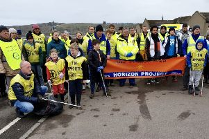 Volunteers ready to take part in the Stonehaven beach clean