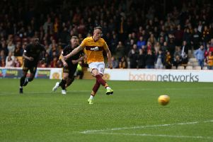 David Turnbull puts Motherwell 3-0 up from the penalty spot against Livingston (Pic by Ian McFadyen)