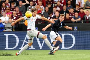 Euan Valentine in action against Hearts (Pic: FPA)