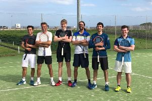 The Stonehaven men's tennis team have reached the Scottish Cup semi finals for the first time in the club's history. left to right James Kirk, Bruce McIver, Patrick Young, Guillaume Hermann, Fergus Hermiston and Kieran Hamilton