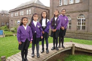 The Hamid sisters at Arduthie School, which Kolsuma, right, leaves this week