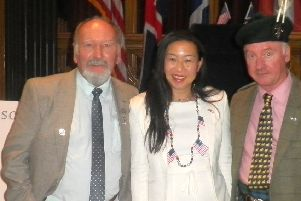 Phil Mills-Bishop, Ellen Wong, who supports the aims of the twinning group,  and Richard Holman-Baird