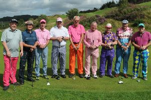 Pictured are John Coyle, Tug Wilson, Gerald Beggs, George Grant, Les Rutherford, Selkirk Golf Club Captain Jackson Cockburn, Mitchell Thomson, Peter Henderson and Andrew Webster (photo by Grant Kinghorn).