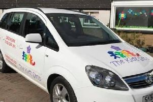 The stolen car - which sports the nursery's distinctive branding.