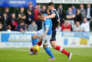 Mark Stewart in action for Stranraer against Falkirk (pic: Michael Gillen)