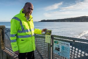 Projects manager Gavin Penman at the CoastSnap viewpoint at Stonehaven. Picture: Aberdeenshire Council