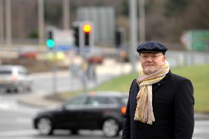 Colin Beattie MSP at Sheriffhall roundabout.