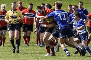 Niall Gray in possession during Lasswade's 19-7 win over Howe of Fife in National League Cup