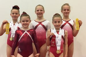 Lasswade gymnasts Chloe Murray, Caitlyn Eldridge, Millie Lamont, Elizabeth Rowlands and Catriona Thomson
