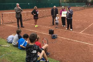 Dalkeith Tennis presented John Duncan (85) with a water colour painted by member Pam Forbes as a lifetime achievement award